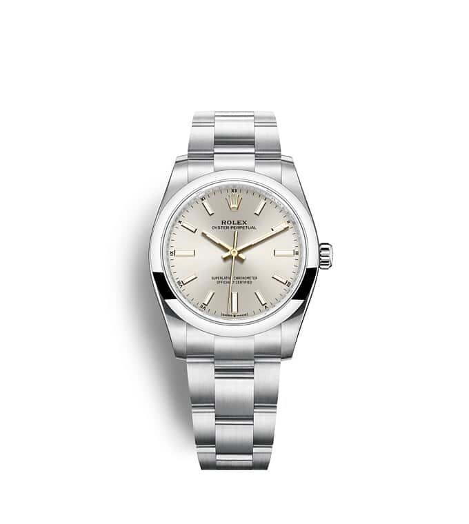 นาฬิกา Rolex Oyster Perpetual 41 - Oyster, 41 มม., Oystersteel หน้าปัดสีเงิน  124200