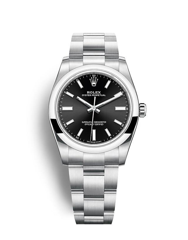 นาฬิกา Rolex Oyster Perpetual 36 - Oyster, 36 มม., Oystersteel หน้าปัดสีดำสว่าง  