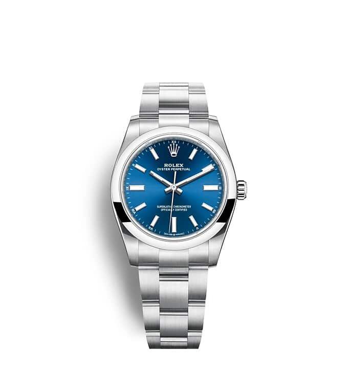 นาฬิกา Rolex Oyster Perpetual 34 - Oyster, 34 มม., Oystersteel หน้าปัดสีน้ำเงินสว่าง   124200