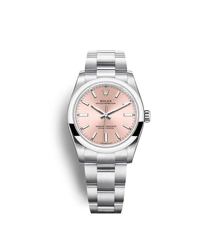 นาฬิกา Rolex Oyster Perpetual 34 - Oyster, 34 มม., Oystersteel หน้าปัดสีชมพู   124200