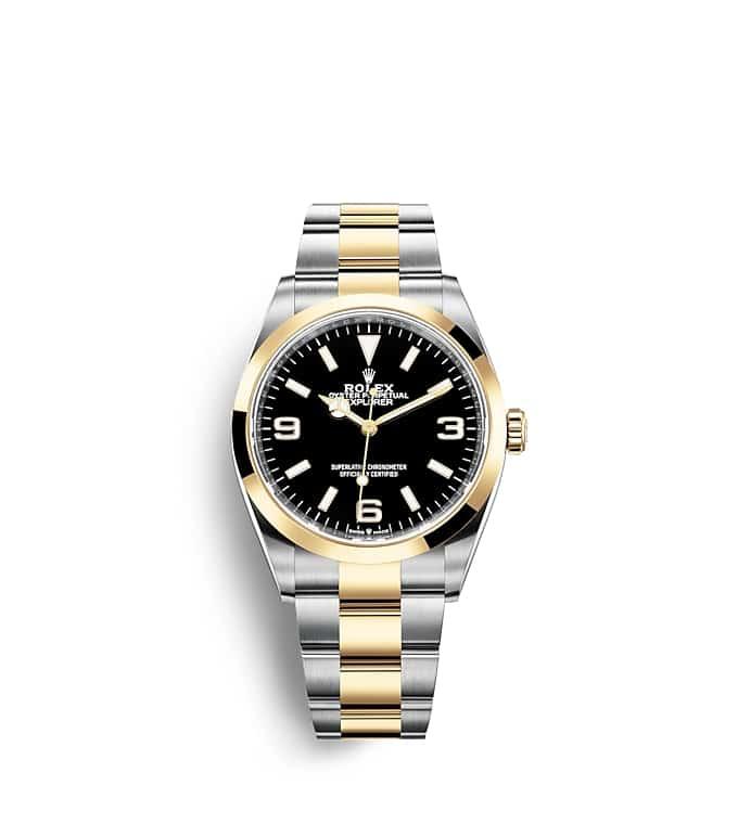 นาฬิกา Rolex Explorer | Oyster, 36 มม., Oystersteel และทองคำ หน้าปัดสีดำ | 124273
