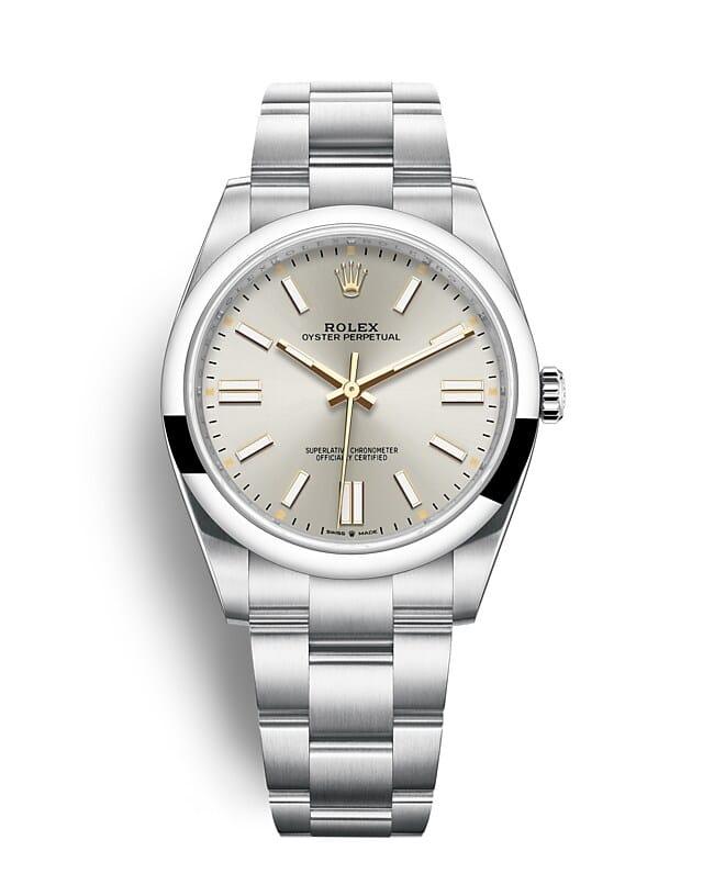 นาฬิกา Rolex Oyster Perpetual 41 - Oyster, 41 มม., Oystersteel หน้าปัดสีเงิน | 124300