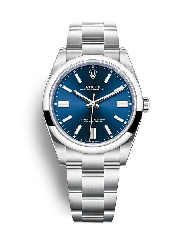 นาฬิกา Rolex Oyster Perpetual 41 - Oyster, 41 มม., Oystersteel หน้าปัดสีน้ำเงินสว่าง   124300