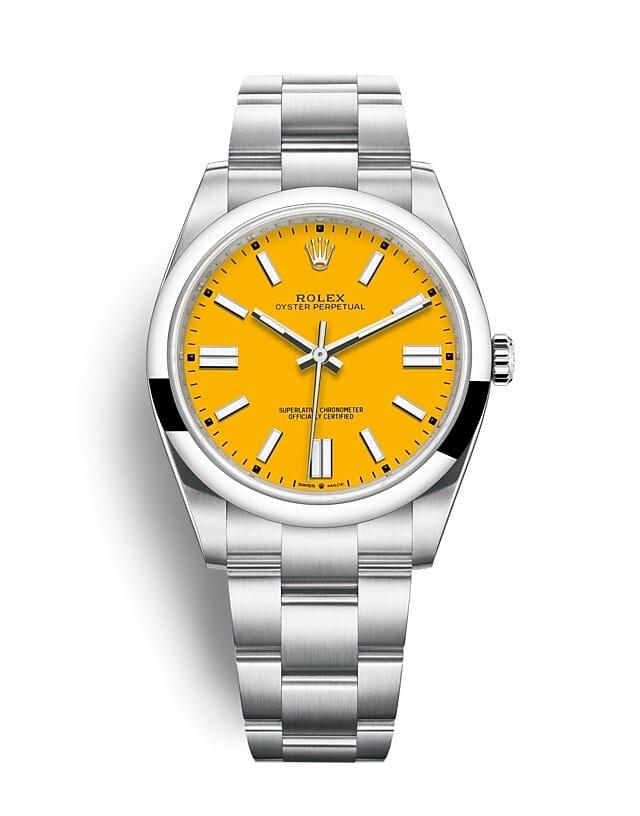 นาฬิกา Rolex Oyster Perpetual 41 - Oyster, 41 มม., Oystersteel หน้าปัดสีเหลือง   124300