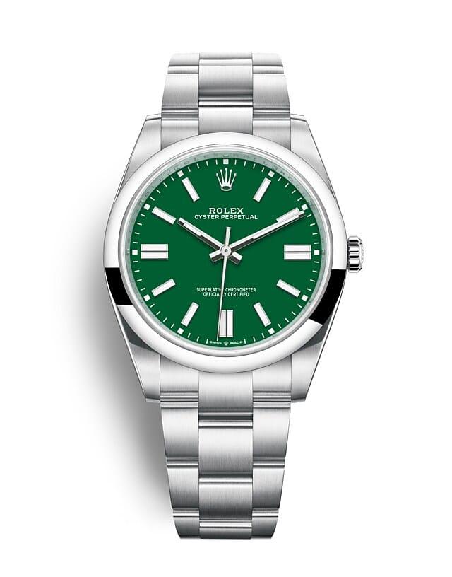นาฬิกา Rolex Oyster Perpetual 41 - Oyster, 41 มม., Oystersteel หน้าปัดสีเขียว   124300