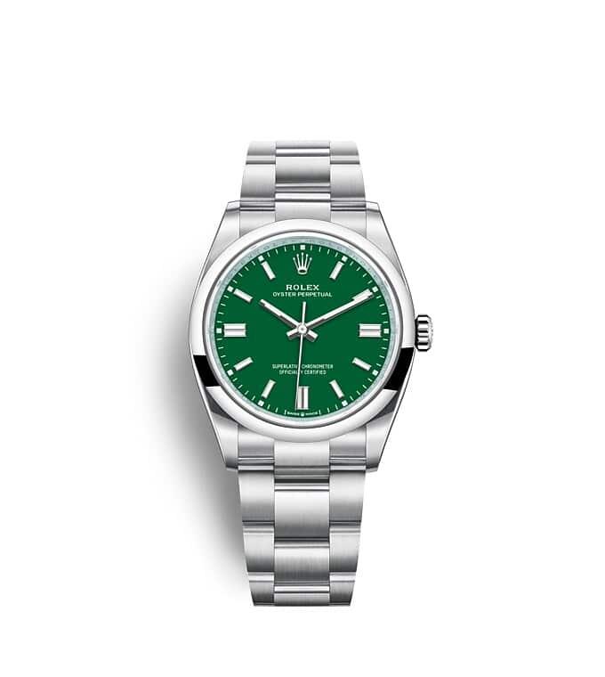 นาฬิกา Rolex Oyster Perpetual 34 - Oyster, 34 มม., Oystersteel หน้าปัดสีเขียว   126000