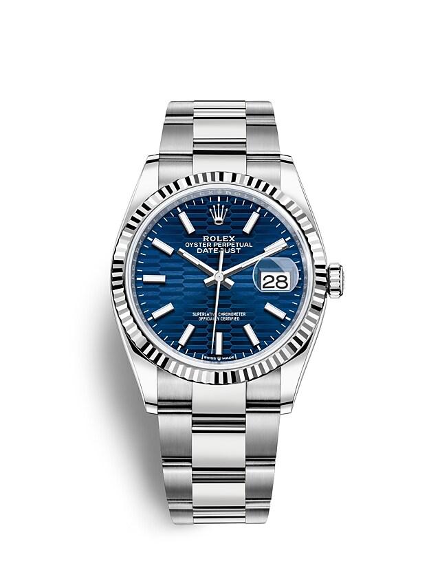 นาฬิกา Rolex Datejust 36 - Oyster, 36 มม., Oystersteel และทองคำขาว หน้าปัดสีน้ำเงินสว่าง