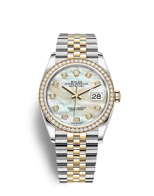 นาฬิกา Rolex Datejust 36 - Oyster, 36 มม., Oystersteel, ทองคำเและเพชร หน้าปัดไข่มุก