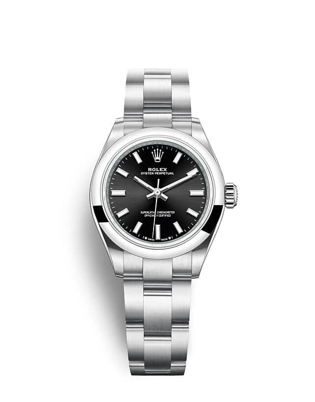 นาฬิกา Rolex Oyster Perpetual 28 - Oyster, 28 มม., Oystersteel หน้าปัดสีดำสว่าง   276201