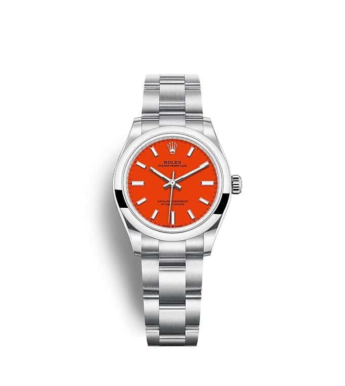 นาฬิกา Rolex Oyster Perpetual 31 - Oyster, 31 มม., Oystersteel หน้าปัดสีแกงปะการัง   277200