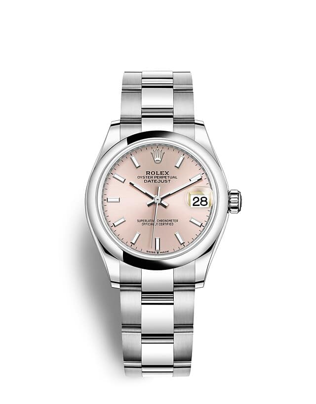 นาฬิกา Rolex Datejust 31 - Oyster, 31 มม., Oystersteel หน้าปัดสีชมพู