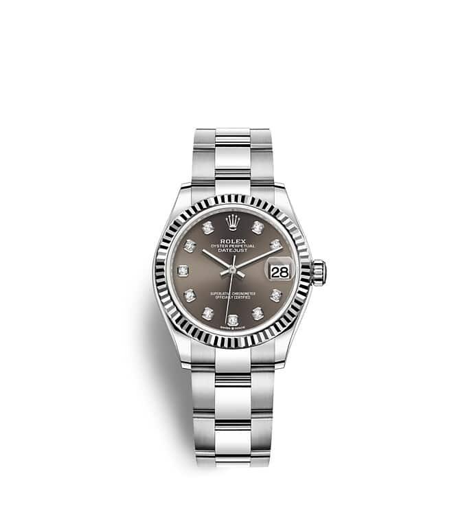นาฬิกา Rolex Datejust 31 - Oyster, 31 มม., Oystersteel และทองคำขาว หน้าปัดสีเทาเข้ม