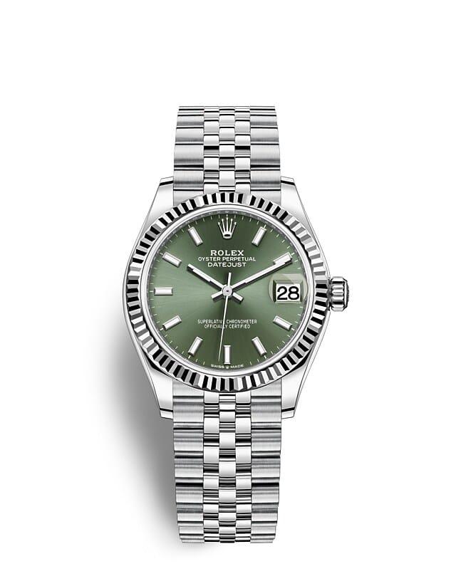 นาฬิกา Rolex Datejust 31 - Oyster, 31 มม., Oystersteel และทองคำขาว หน้าปัดสีเขียวมิ้นต์