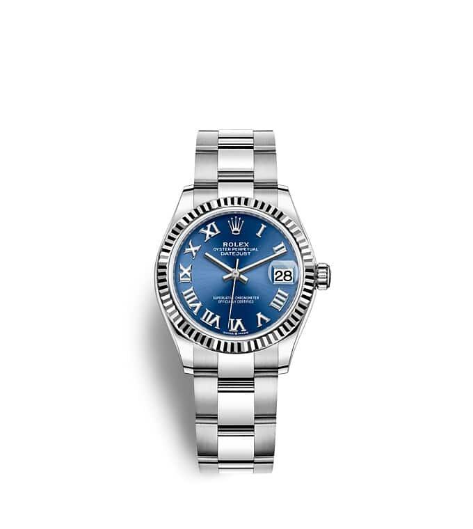 นาฬิกา Rolex Datejust 31 - Oyster, 31 มม., Oystersteel และทองคำขาว หน้าปัดสีน้ำเงินสว่าง