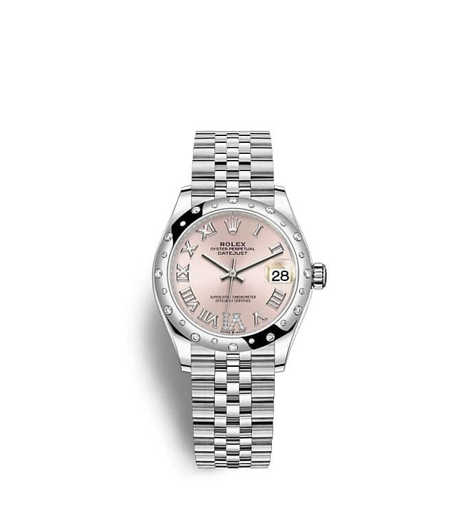 นาฬิกา Rolex Datejust 31 - Oyster, 31 มม., Oystersteel, ทองคำขาวและเพชร หน้าปัดสีชมพู