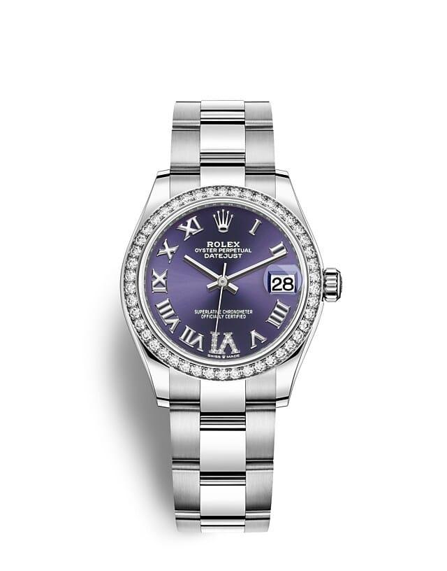นาฬิกา Rolex Datejust 31 - Oyster, 31 มม., Oystersteel, ทองคำขาวและเพชร หน้าปัดสีม่วงเข้ม