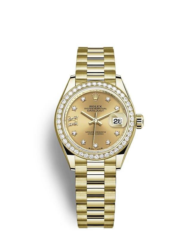 นาฬิกา Rolex Lady-Datejust - Oyster, 28 มม., ทองคำและเพชร หน้าปัดสีแชมเปญ   279138RBR