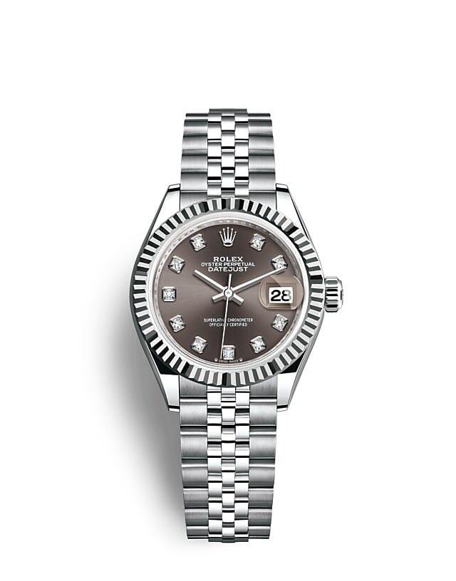 นาฬิกา Rolex Lady-Datejust - Oyster, 28 มม., Oystersteel และทองคำขาว หน้าปัดสีเทาเข้ม   279174