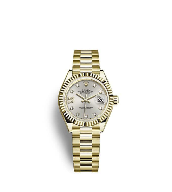 นาฬิกา Rolex Lady-Datejust - Oyster, 28 มม., ทองคำ หน้าปัดสีเงิน   279178