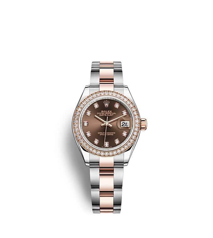 นาฬิกา Rolex Lady-Datejust - Oyster, 28 มม., Oystersteel, เอเวอร์โรสโกลด์และเพชร หน้าปัดสีชอกโกแลต   279381RBR