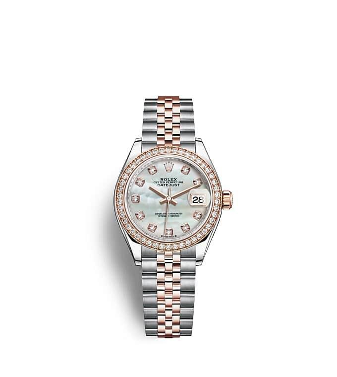 นาฬิกา Rolex Lady-Datejust - Oyster, 28 มม., Oystersteel, เอเวอร์โรสโกลด์และเพชร หน้าปัดไข่มุก   279381RBR