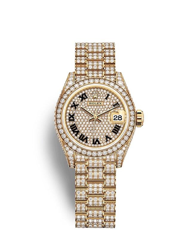 นาฬิกา Rolex Lady-Datejust - Oyster, 28 มม., ทองคำและเพชร หน้าปัดประดับเพชร   279458RBR