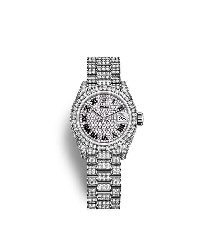 นาฬิกา Rolex Lady-Datejust - Oyster, 28 มม., ทองคำขาวและเพชร หน้าปัดประดับเพชร   279459RBR